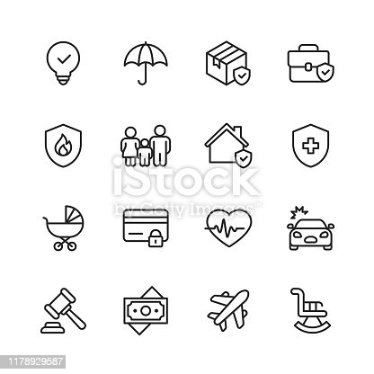 16 Insurance Outline Icons.