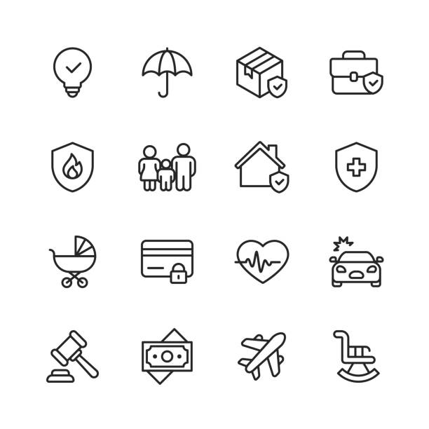 insurance line icons. editable stroke. pixel perfect. for mobile and web. contains such icons as insurance, agent, shipping, family, credit card, health insurance, savings, accident. - insurance stock illustrations