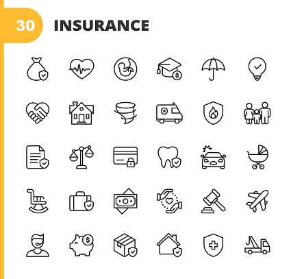 Insurance Line Icons. Editable Stroke. Pixel Perfect. For Mobile and Web. Contains such icons as Insurance, Agent, Shipping, Family, Credit Card, Health Insurance, Savings, Accident, Law, Travel Insurance, Real Estate, Support, Retirement.
