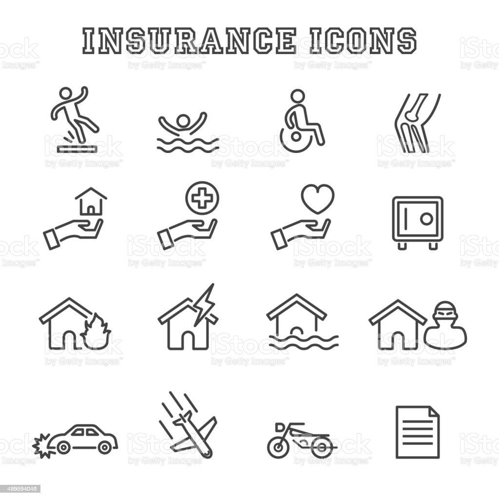 insurance line icons vector art illustration