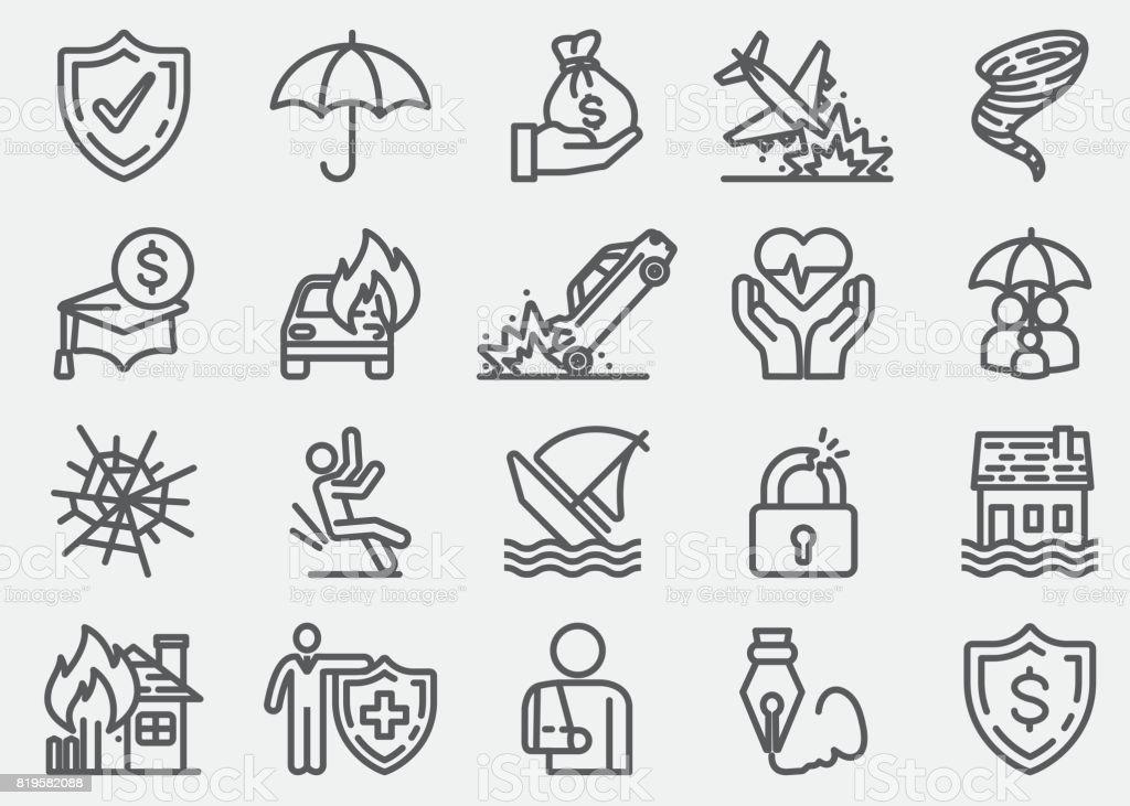 Icônes de la ligne d'assurance - Illustration vectorielle