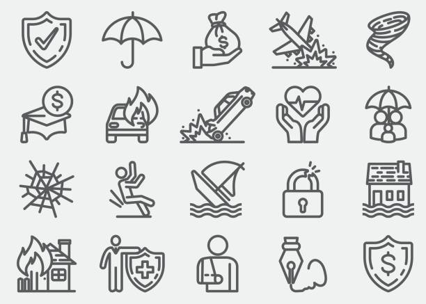 Insurance Line Icons Insurance Line Icons damaged stock illustrations