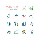 Insurance - modern vector single thin line icons set