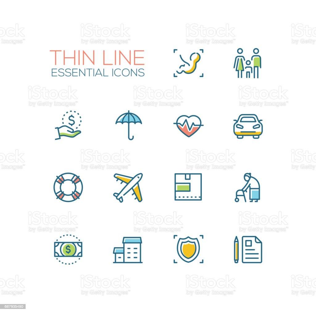 Insurance - modern vector single thin line icons set vector art illustration