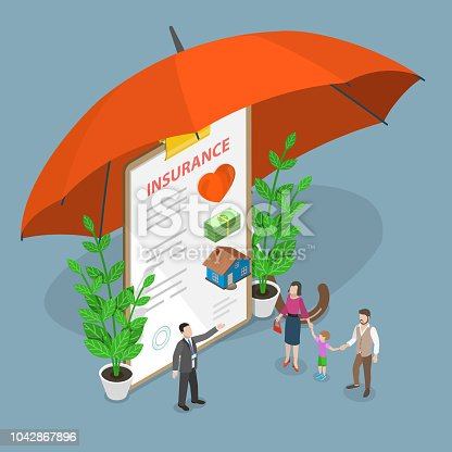 Insurance options isometric flat vector concept.