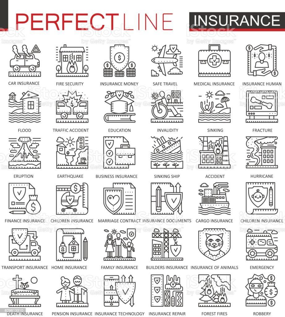 Symboles du concept plan d'assurance. Icônes ligne mince parfaite soins de santé et de la vie. Illustrations de course moderne style linéaire définie. - Illustration vectorielle