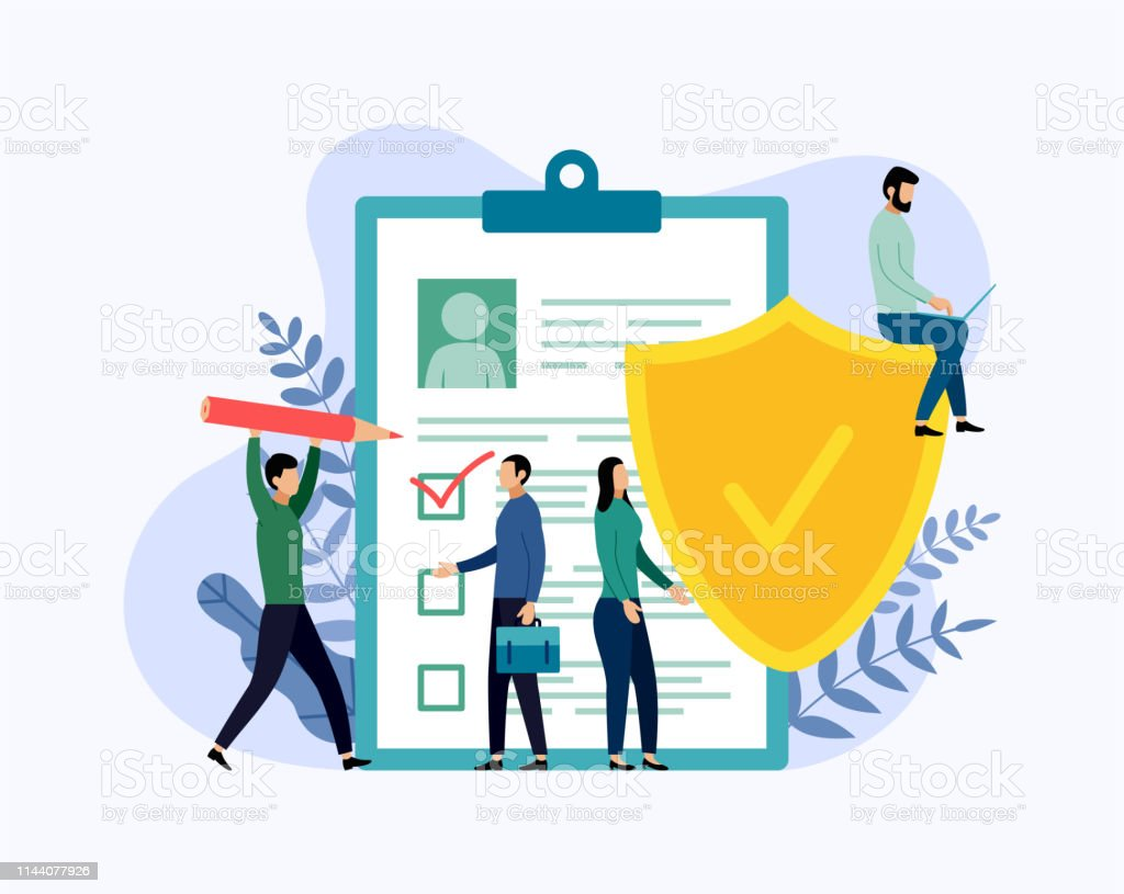Insurance policy concept, data security, business concept vector illustration - Royalty-free Adulto arte vetorial
