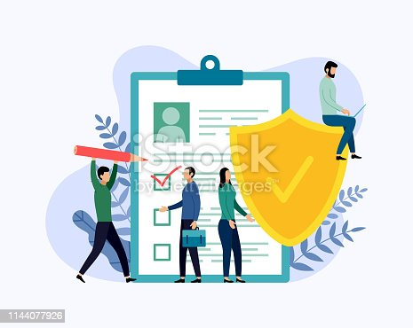 istock Insurance policy concept, data security, business concept vector illustration 1144077926