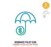 Insurance policy vector icon illustration for logo, emblem or symbol use. Part of continuous one line minimalistic drawing series. Design elements with editable gradient stroke.
