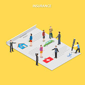 Insurance policy flat isometric vector concept.