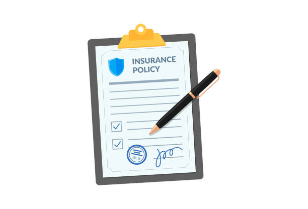 illustrazioni stock, clip art, cartoni animati e icone di tendenza di insurance policy on clipboard with pen isolated on white background. company agreement contract document check list on board. injury risk law legal preparedness vector illustration - assicurazione