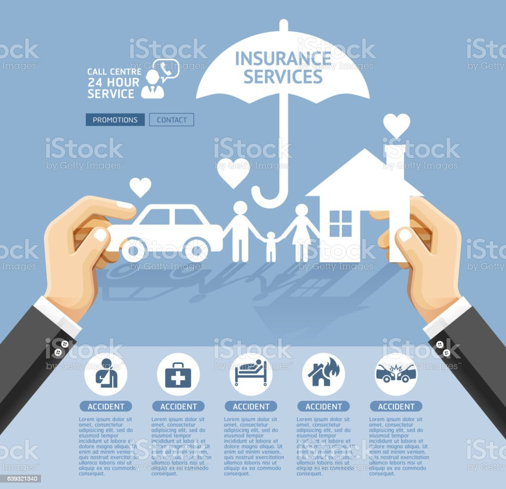 Insurance policy services conceptual design. vector art illustration