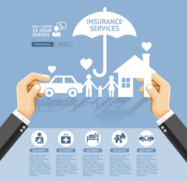 insurance policy services conceptual design. - insurance stock illustrations