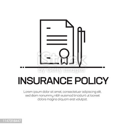 Insurance Policy Vector Line Icon - Simple Thin Line Icon, Premium Quality Design Element