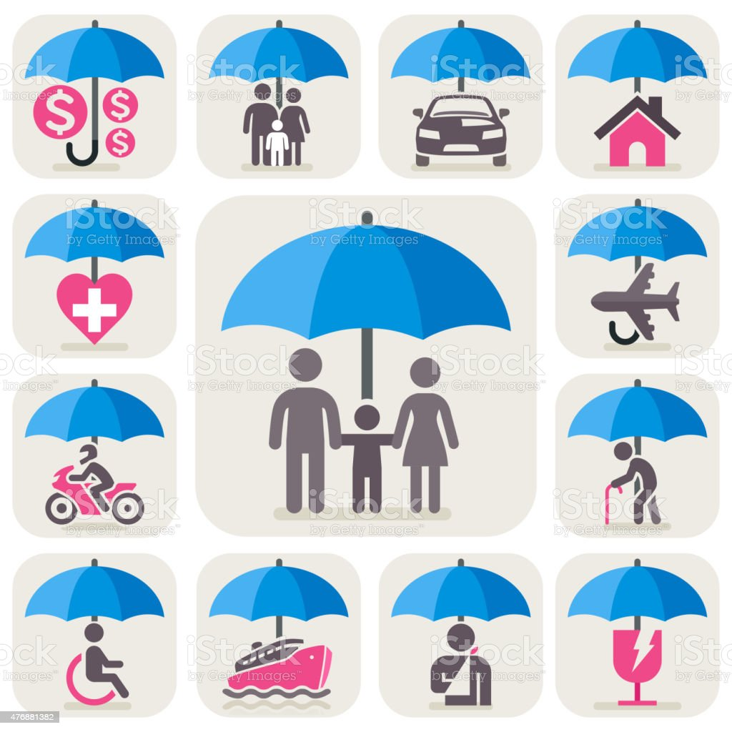 Insurance protection concept icons. vector art illustration
