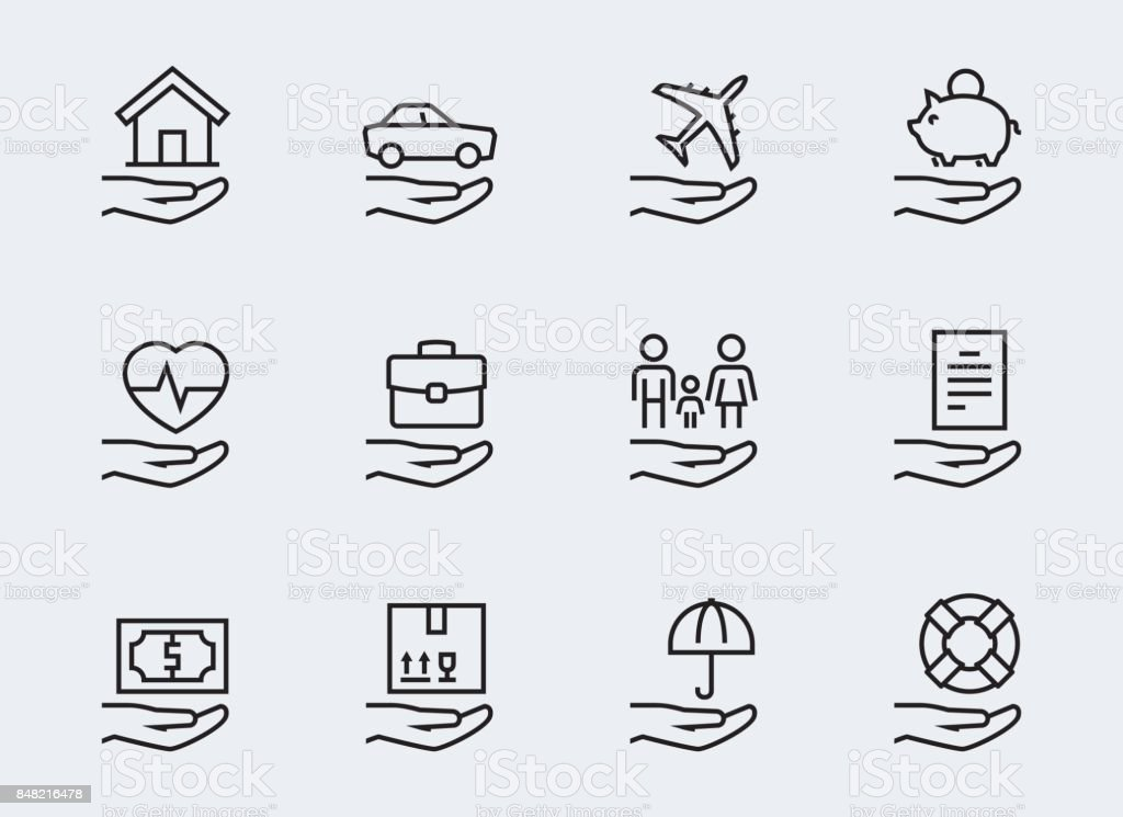 Insurance related icon set in thin line style vector art illustration