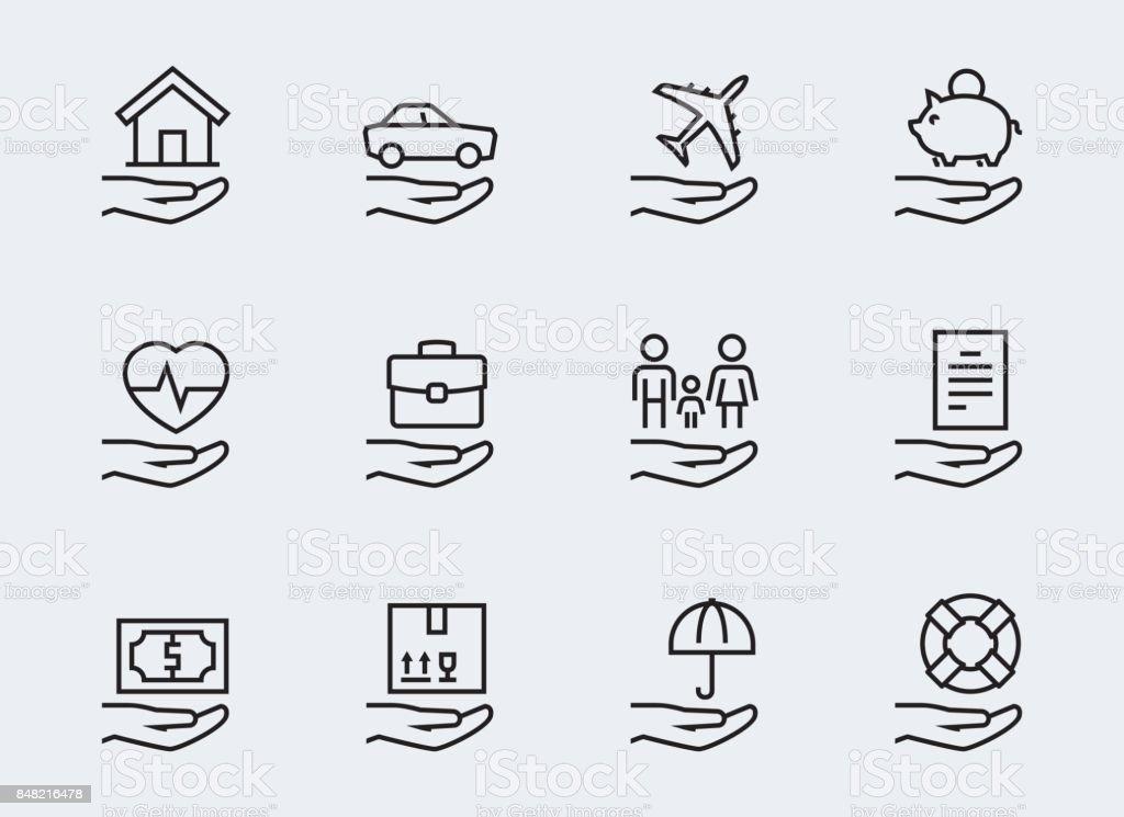 Assurances liées jeu d'icônes dans le style de ligne fine - Illustration vectorielle