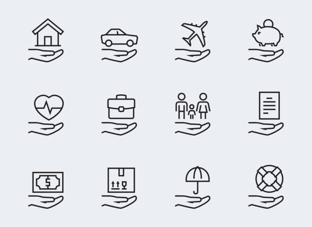insurance related icon set in thin line style - insurance stock illustrations