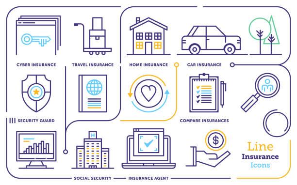 stockillustraties, clipart, cartoons en iconen met verzekering & risico management lijn icon set - alarm, home,
