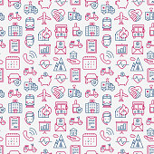 Insurance seamless pattern with thin line icons: health, life, car, house, savings. Modern vector illustration for background.