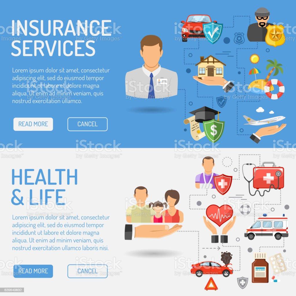 Los servicios de las aseguradoras Banners - ilustración de arte vectorial