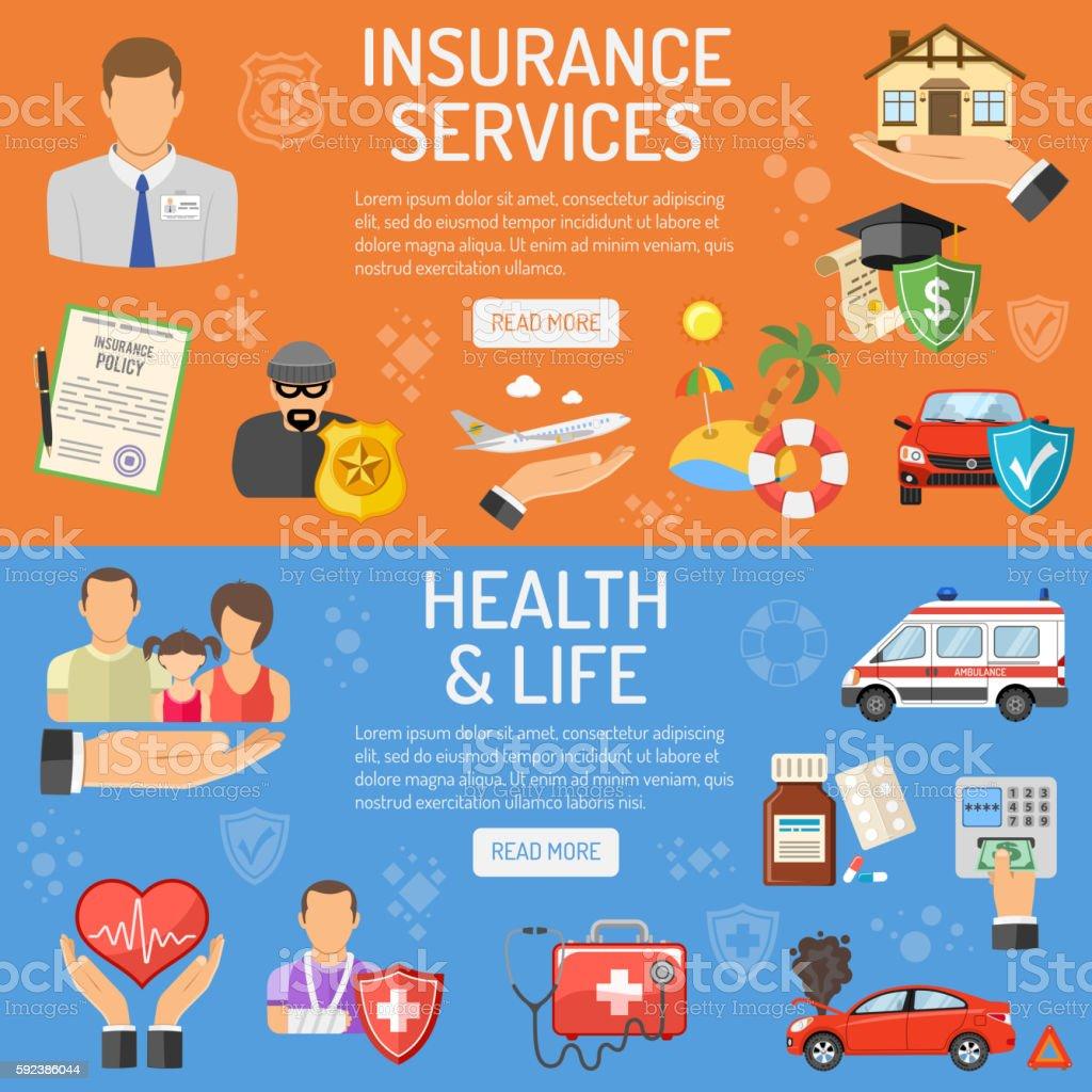 Os serviços de seguros Bandeiras - ilustração de arte em vetor