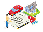 Insurance services vector illustration. Isometric car, house, insurance policy, money, pen, heart with medicaments and male character. Auto, home, health insurance concept for banner, website page etc