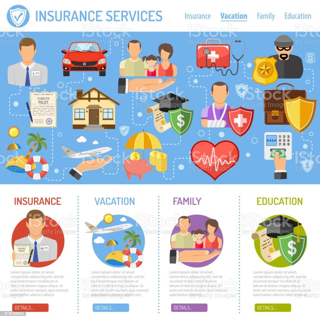 Conceito de seguro de serviços - ilustração de arte em vetor