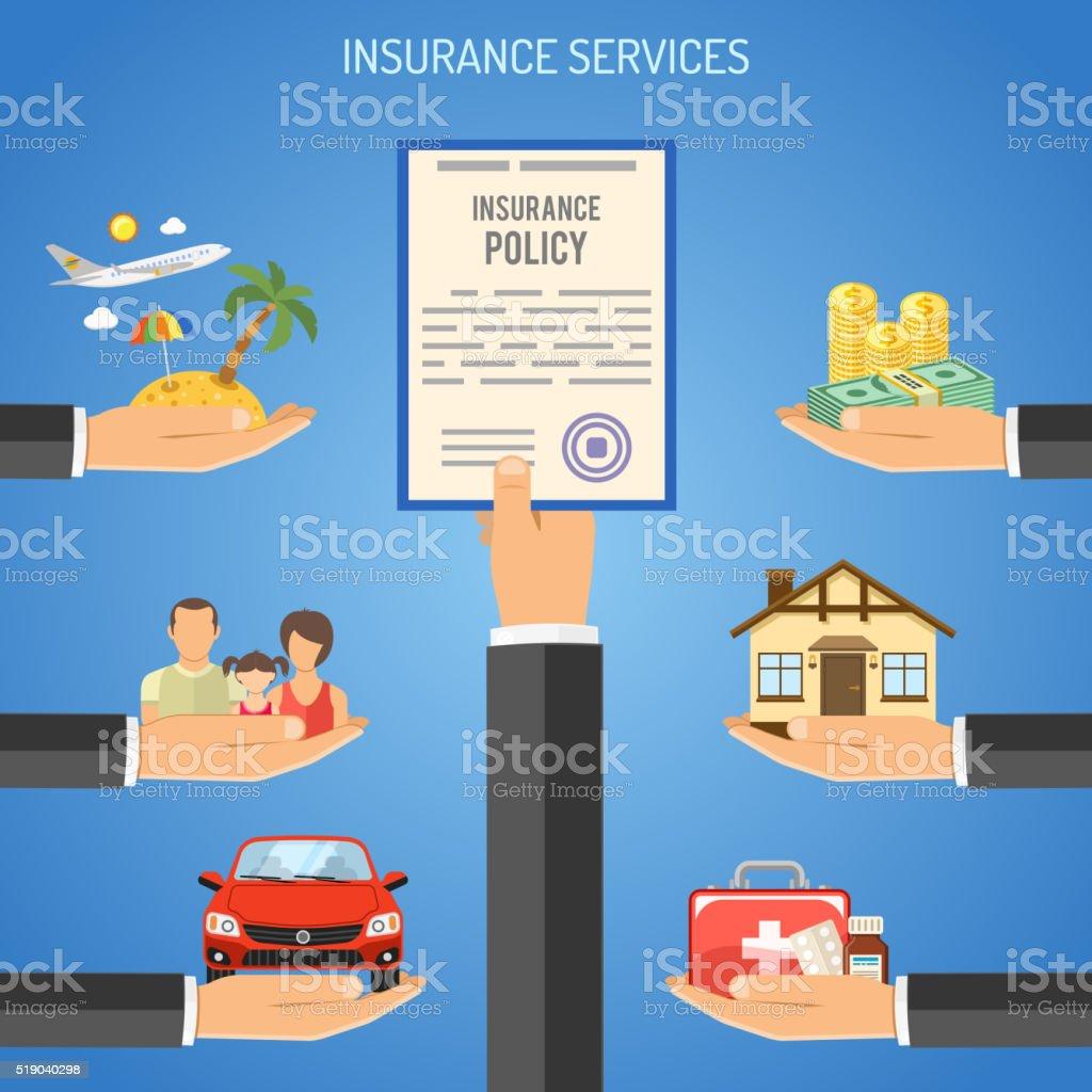 Concepto de servicios de seguros - ilustración de arte vectorial