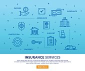 Line vector illustration of insurance services. Banner/Header Icons.