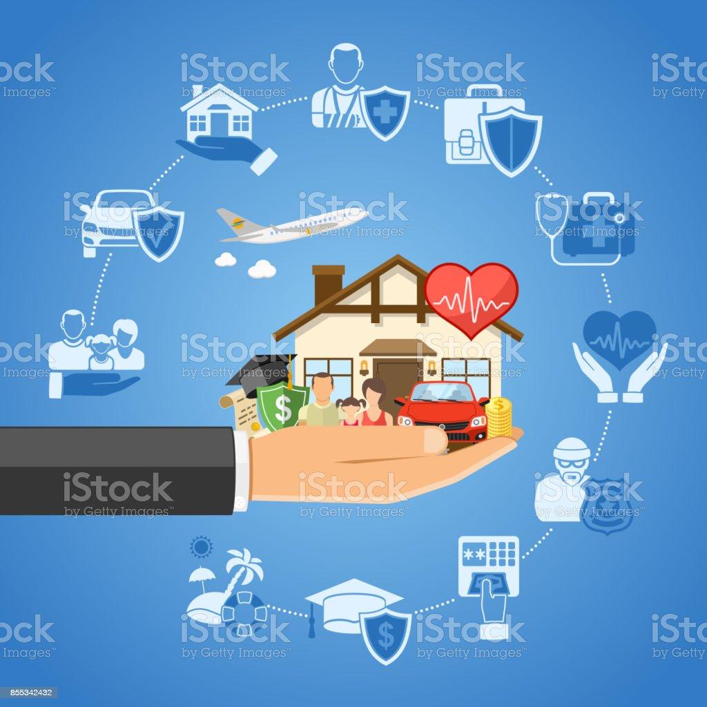 Insurance Services Concept vector art illustration