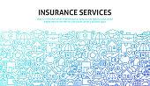Insurance Services Concept. Vector Illustration of Line Website Design. Banner Template.