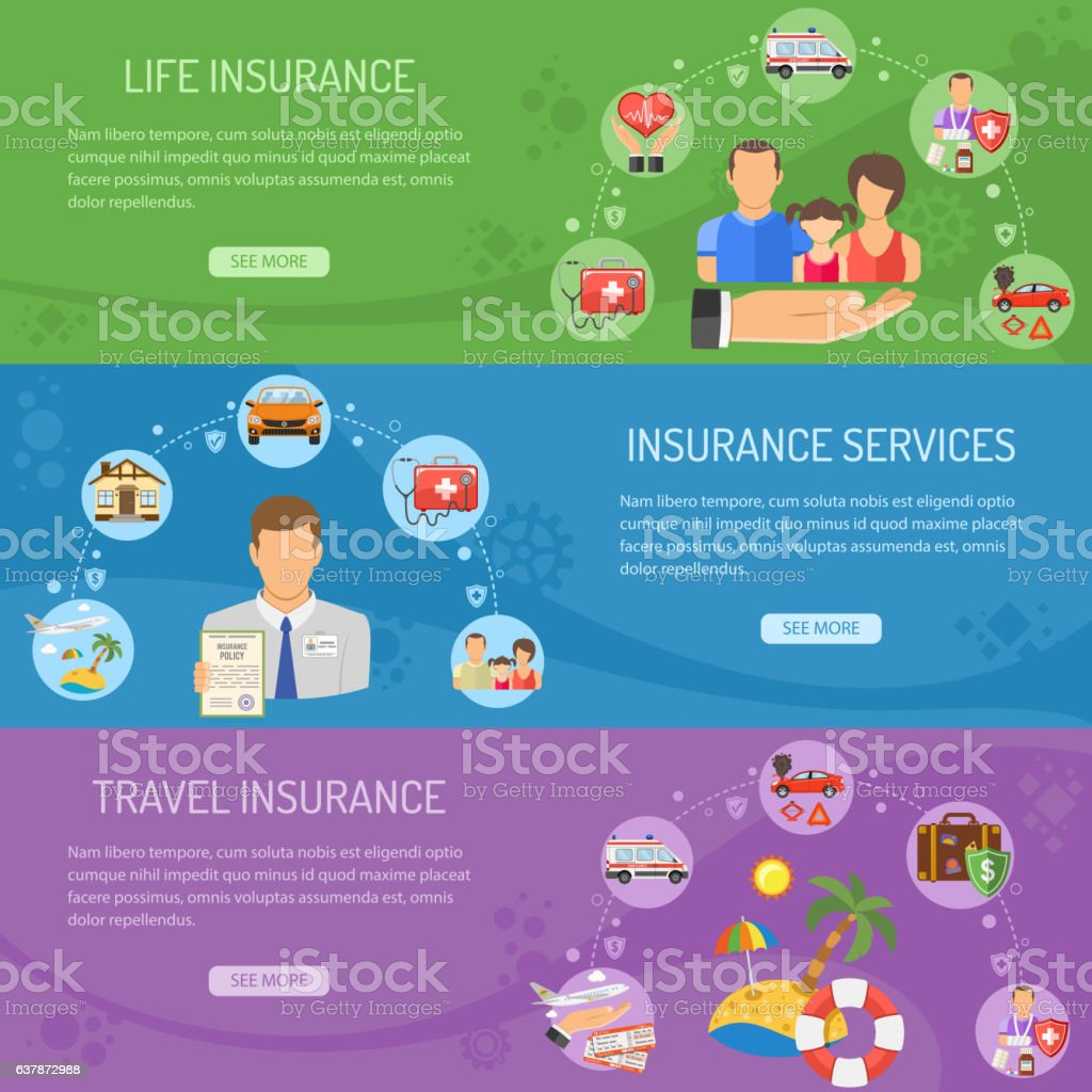 Insurance Services Horizontal Banners ベクターアートイラスト