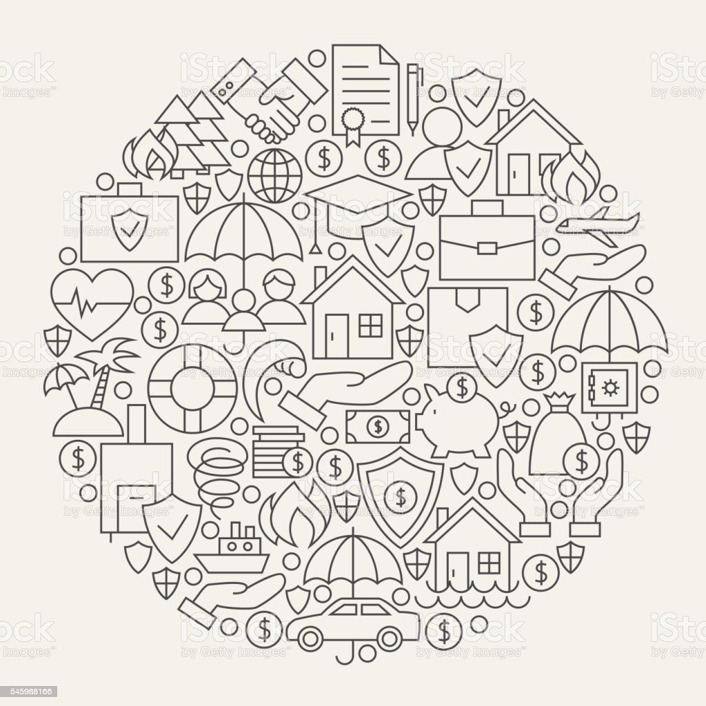 Insurance Services Line Icons Set Circle Shape - ilustração de arte em vetor