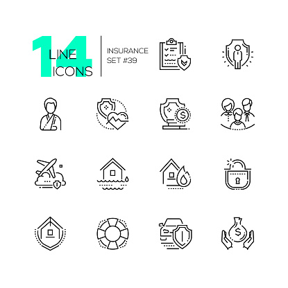 Insurance - set of line design style icons isolated on white background. Black pictograms. Contract, protection, medical, social, financial, flight, fire, flood, residential family life transport