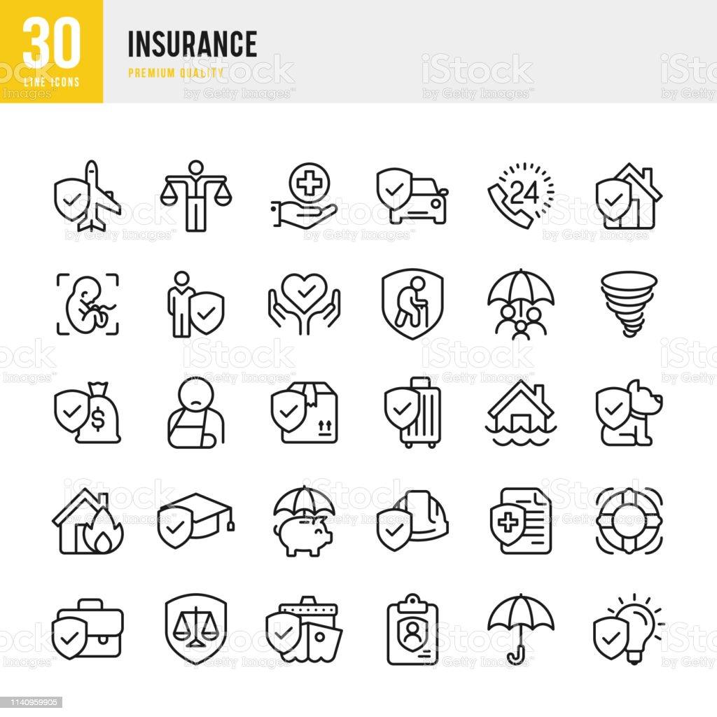 Insurance - set of line vector icons - Royalty-free Acidentes e Desastres arte vetorial