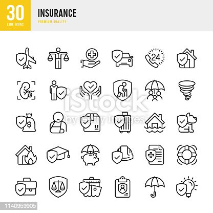 Set of 30 Business & Health Insurance line vector icons. Life Insurance, Home Insurance, Medical insurance, Business Insurance and so on