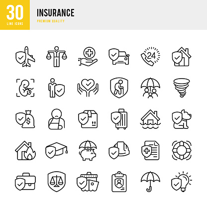 Insurance - set of line vector icons