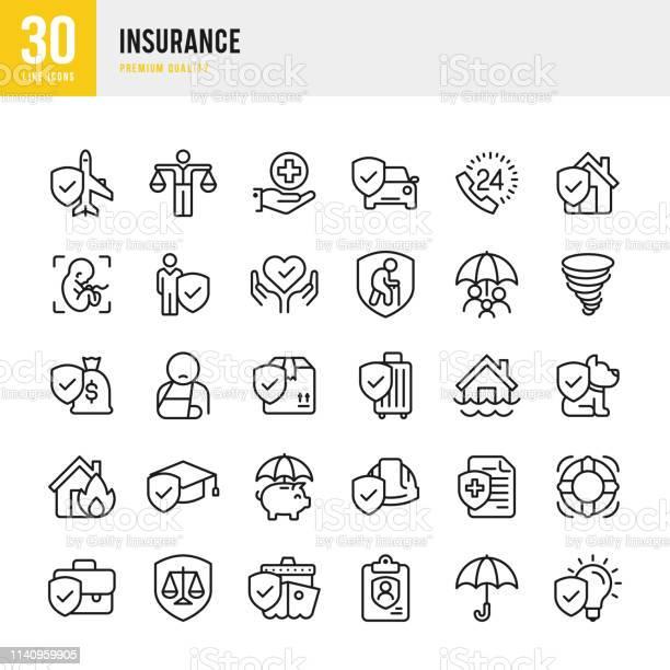 Insurance Set Of Line Vector Icons - Arte vetorial de stock e mais imagens de Acidentes e Desastres