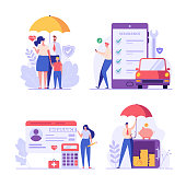 istock Insurance set vector. People protecting property and health. Health and family protection, Car and deposit insurance. Money guarantee. Vector illustration in flat design for web banner, mobile app 1306070572