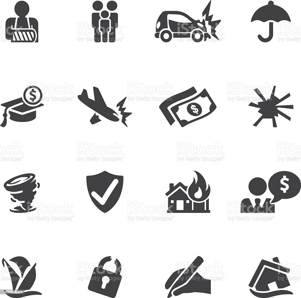 Insurance Silhouette icons| EPS10 vector art illustration