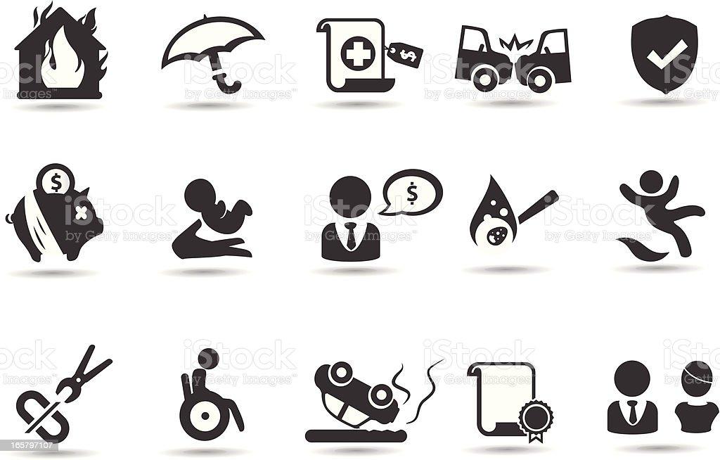 Símbolos de seguro - ilustração de arte em vetor