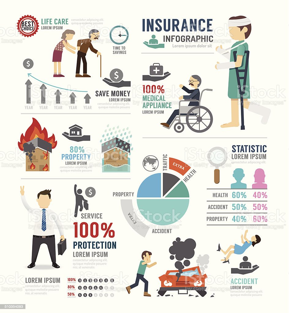 Insurance Template Design Infographic . Concept Vector. vector art illustration