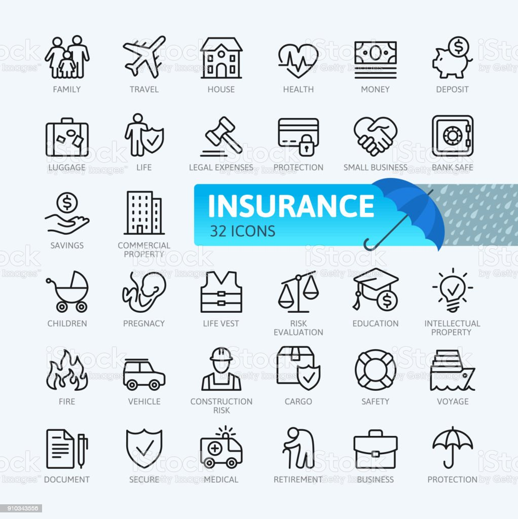 Insurance - thin line  icons collection royalty-free insurance thin line icons collection stock illustration - download image now