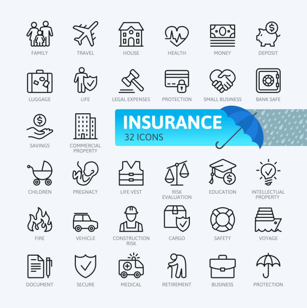 Insurance - thin line  icons collection vector art illustration