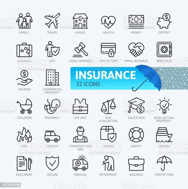 Insurance Thin Line Icons Collection - Arte vetorial de stock e mais imagens de Assistência
