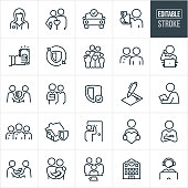 A set of insurance icons that include editable strokes or outlines using the EPS vector file. The icons include insurance agents, happy couple, car insurance, insurance plan, money, family, insurance agent on phone, handshake, insurance coverage, signed agreement, insurance underwriter, team of insurance agents, home insurance, insurance agent with arms folded, couple with baby, medical insurance and a customer support representative to hame a few.