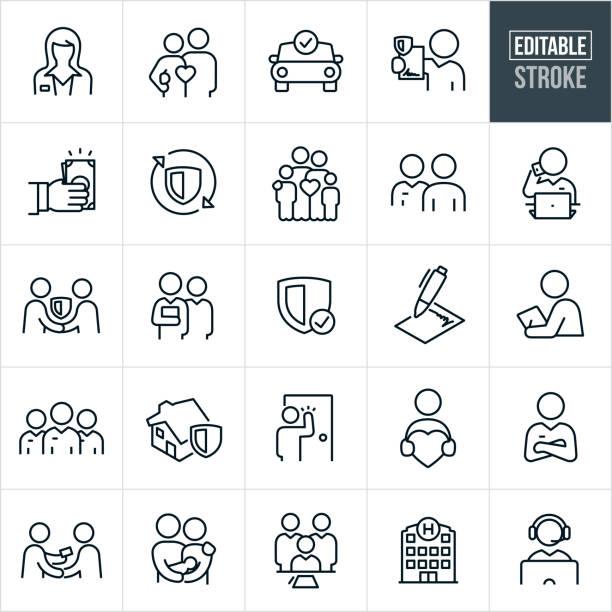 illustrazioni stock, clip art, cartoni animati e icone di tendenza di icone della linea sottile assicurativa - tratto modificabile - family