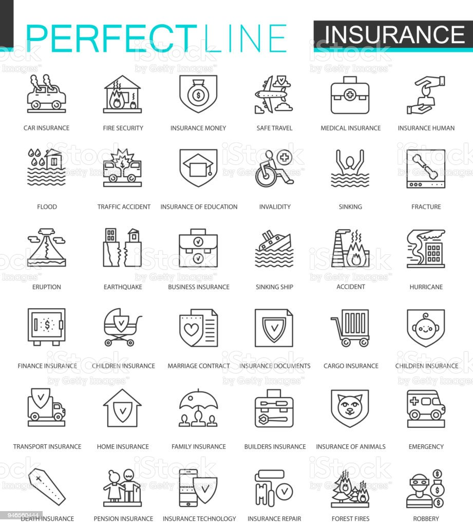 Insurance thin line web icons set. Car, house, health, life insurance outline stroke icons design.