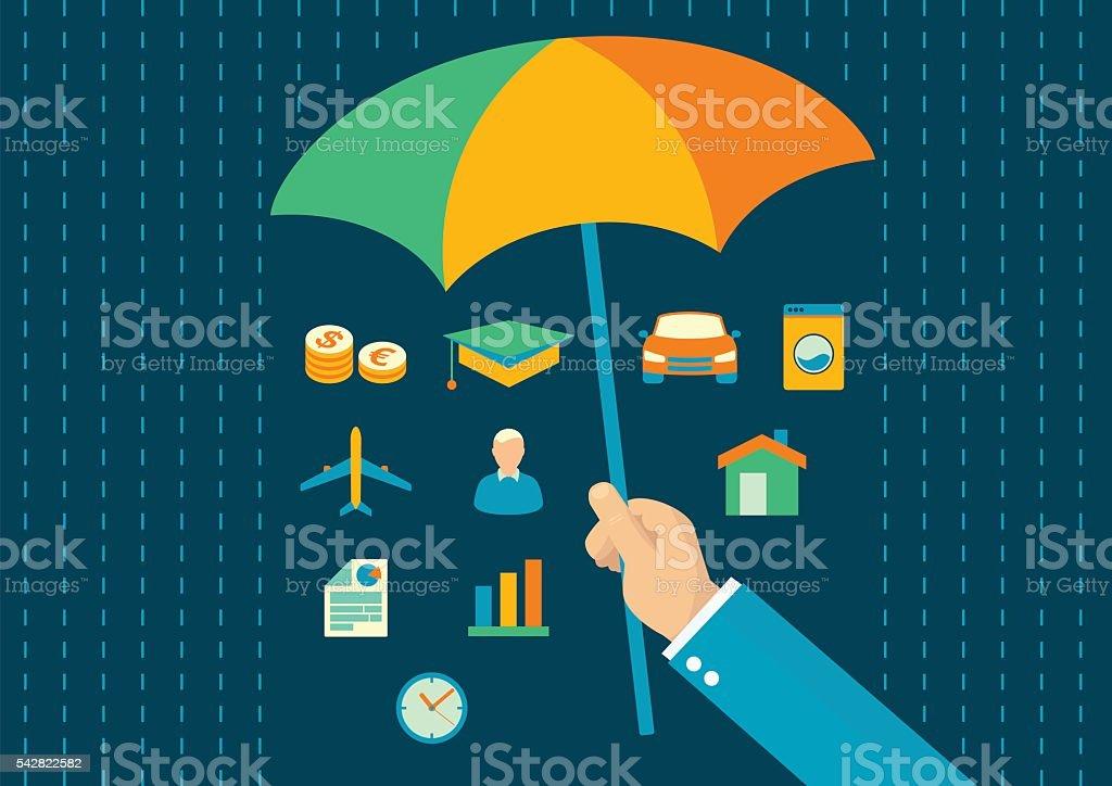 Insurance vector flat design vector art illustration
